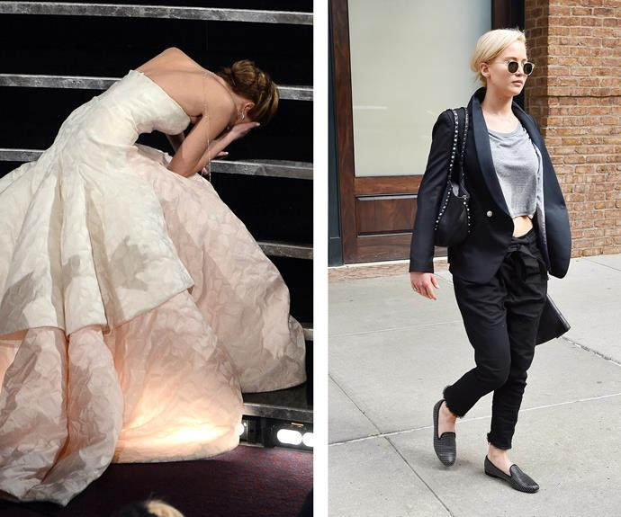 "After her slinky stilettos or rather ""Satan's shoes"" (as she fondly put it) got the better of her at the 2013 Oscars, Jennifer Lawrence now chooses a classic pair of loafers to go about her busy days."