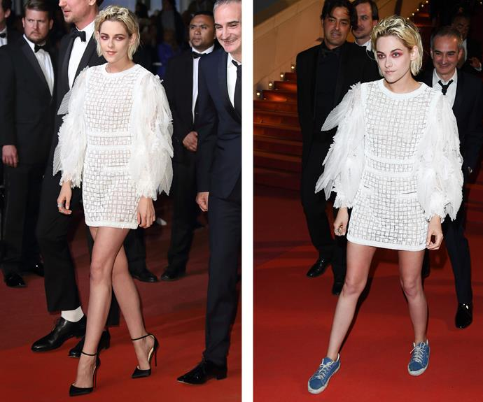 "At this year's Cannes Film Festival, the edgy Kristen Stewart began her night in high heels, but quickly slipped into something more comfortable! ""I feel I can experience about half of my night that I would be able to experience if I was just wearing shoes and I could run around. Literally, these slow you down,"" she later admitted."