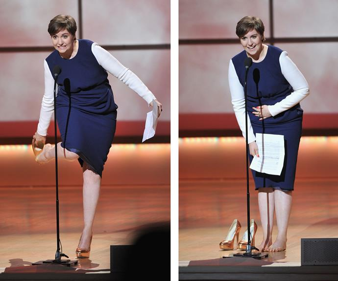 "During the 2012 Glamour Women Of The Year Awards, *Girls* star Lena Dunham removed her shoes a few words into her acceptance speech. ""I have to take my shoes off, you guys, I'm so sorry,"" she said, adding: ""It was never going to go OK that way."""