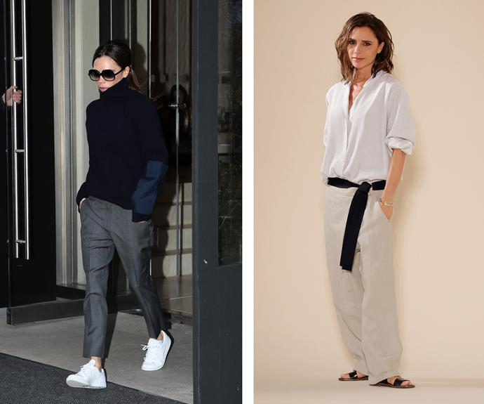 This year, Victoria Beckham opted for stylish comfort when she stepped out to take a bow as she closed her Spring/Summer runway show at New York Fashion Week.
