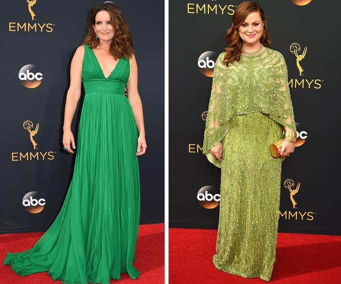 Comedy besties Tina Fey and Amy Poehler has us green with envy in these stunning outfits.