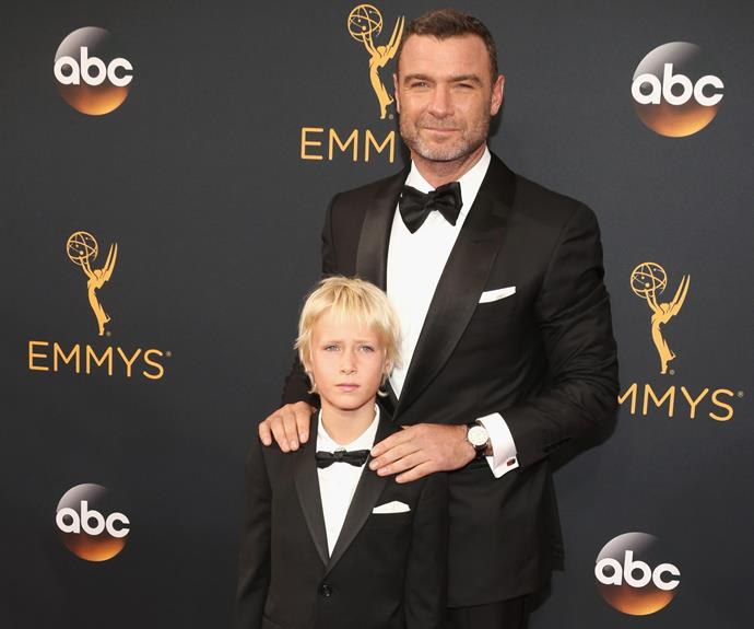 Father and son's night out! Liev Schreiber was joined by his nine-year-old son Sasha.