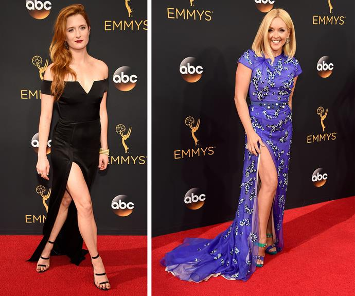 Thigh's the limit! Mami Gumer and Jane Krakowski both flashed a bit of leg.