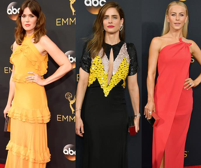Bright stars! Mandy Moore, Amanda Peet and Julia Hough played around with eye-catching colours.
