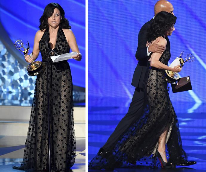 "Julia Louis-Dreyfus. won her fifth consecutive trophy for Outstanding Lead Actress in *Veep*, paid tribute to her late father, who died Friday. ""I'm so glad he liked Veep because his opinion was the one that really mattered,"" she said through tears."