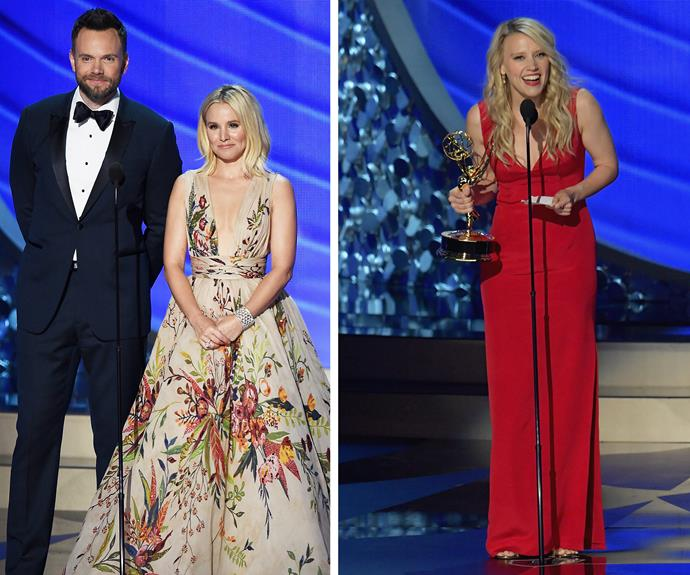 Kristen Bell was overjoyed to present Kate McKinnon with her very first Emmy for her role on *SNL*!