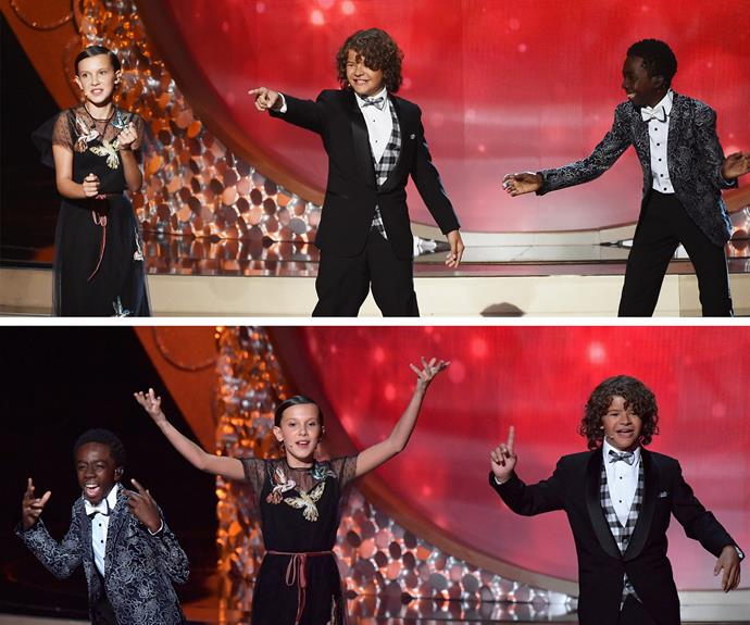 Millie Bobby Brown, Caleb McLaughlin, and Gaten Matarazzo, the adorable kids from *Stranger Things* all wowed the Hollywood audience!