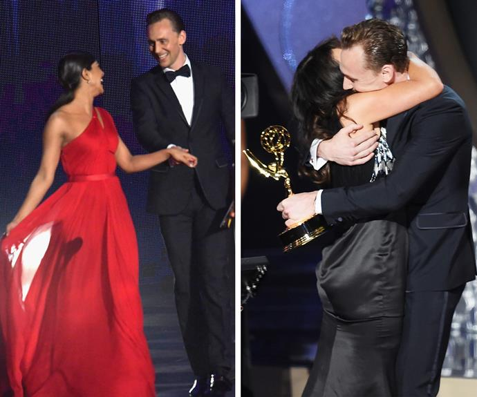 While he wasn't completely smitten with the *Quantico* star, he swiftly turned his attention to Outstanding Directing winner, Susanne Bier, his director for *The Night Manager*.