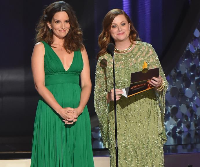 Hosting alums Tina Fey and Amy Poehler take to the stage in glorious fashion.