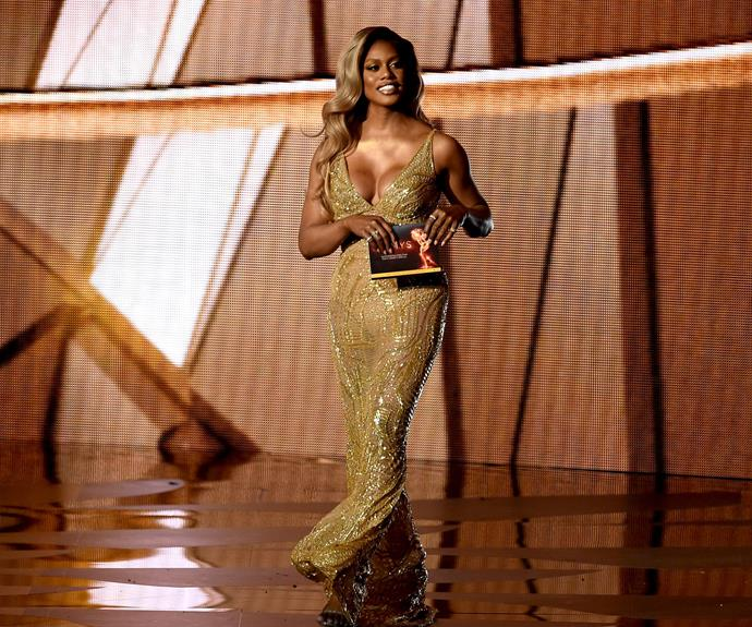 The golden lady, Laverne Cox, looked sublime.