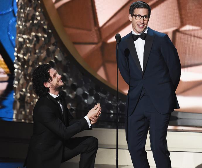 Talk about dreams! *GoT's* Kit Harrington goes down on one knee for funny man Andy Samberg.