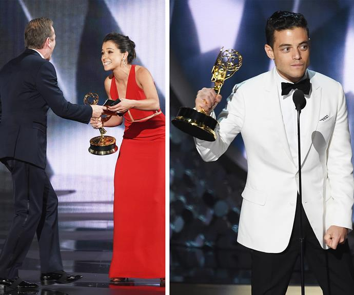 Tatiana Maslany scored her first award for her work on *Orphan Black* while *Mr. Robot's* leading man Rami Malek wins Outstanding Lead Actor in a Drama Series