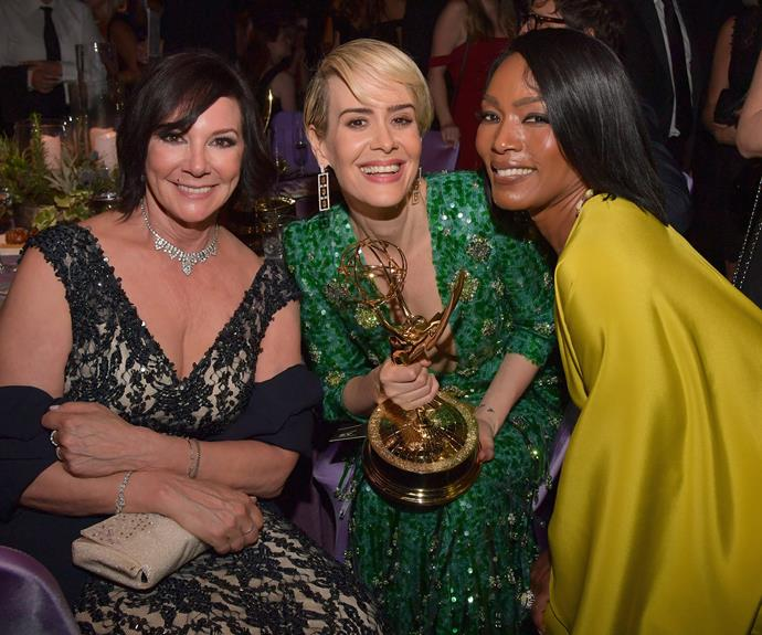 Sarah Paulson with her date Marcia Clark and Angela Bassett.