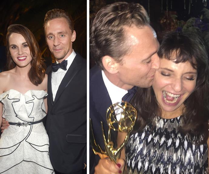 We say the 35-year-old is dealing with his single status quite well! The charming Brit also said hi to *Downton Abbey's* Michelle Dockery before giving his *Night Manager* director Susanne Bier a congratulatory smooch.