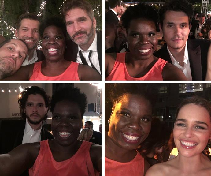 "But there was just one who slayed the after party... Miss Leslie Jones, who had the BEST time. She fan-girled over the cast of *Game of Thrones* and posed this question to John Mayer, ""He said he had gonna write a song about me. I think he should have sex with me instead am I wrong?"""
