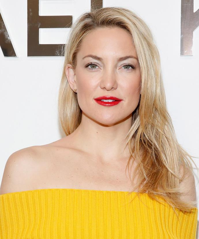 """""""It has always been pretty simple. I simply apply some sunscreen, use a little blush and lip gloss, and I'm out the door,"""" 37-year-old Kate Hudson says of her makeup routine."""
