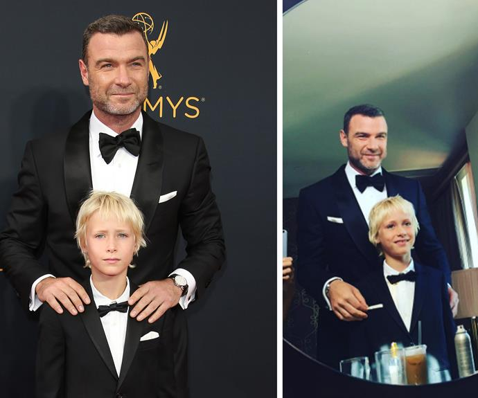 Instead of walking the red carpet with Naomi, Liev took his eldest son Sasha to the Emmys.