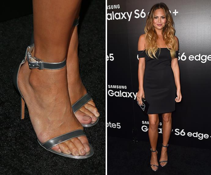 Chrissy Teigen teamed her off-the-shoulder LBD with the perfect caramel-nude pedicure. A timeless hue that works with any outfit - winner!