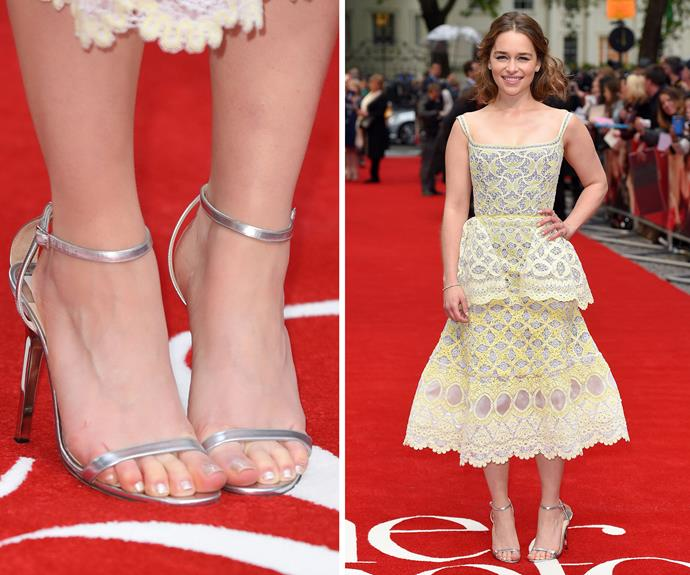At the premiere of *Me Before You* (sob!) Emilia Clarke matched her polish choice to her strappy silver sandals. We love a muted metallic for spring.