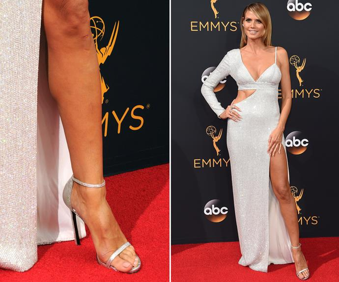 Sometimes understated is sexy - just ask Heidi Klum. She chose a soft, pinky-peach nude for her Emmy's pedicure and let that thigh-high split do all the talking!