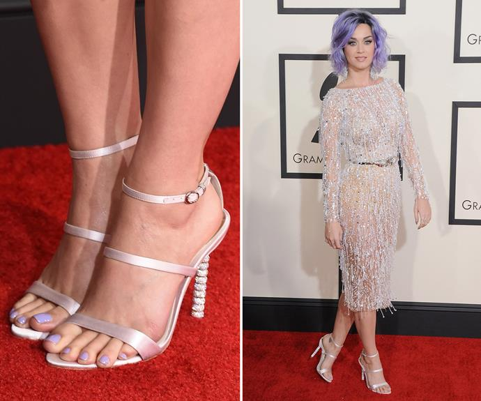This ladylike look, from last year's Grammy Awards, is still one of our favourite Katy Perry style moments. We love that her lavender pedi matches her hair. Top-to-toe styling at its best!