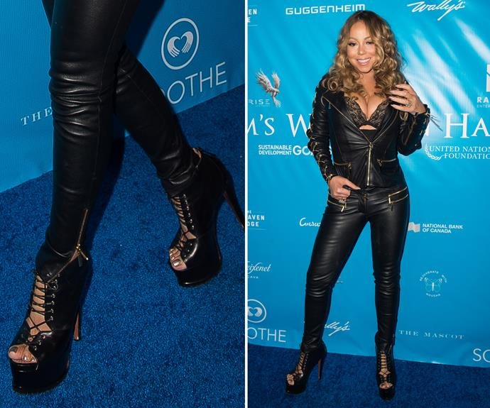 What do you wear to meet the UN Secretary-General? Lots of leather, lace-up platforms and a multi-tonal metallic pedicure. Very rock-chick, Mariah!
