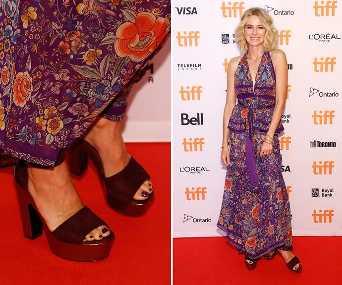 Not sure what colour to wear? Be guided by your outfit, like Naomi Watts. Her deep plum pedicure matches her gorgeous gown perfectly.