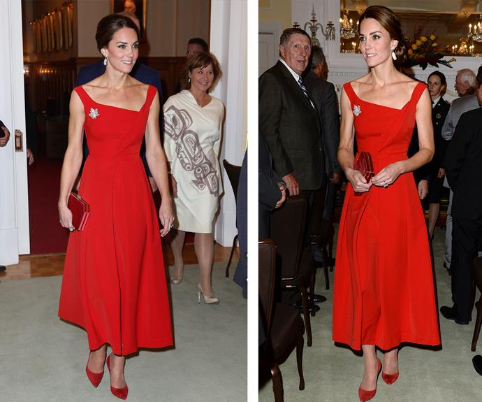 During her [2016 tour of Canada](http://www.nowtolove.com.au/royals/british-royal-family/duchess-catherine-stuns-in-red-at-canada-reception-20263) Kate gave us all in lesson in how to dress when she attended an event in this bright scarlet dress by London designer Preen by Thornton Bregazzi. In fact, the royal loved this dress so much she also bought it in black!