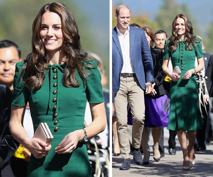 Duchess Catherine looked elegant in this Dolce & Gabbana number teamed with LK Bennett nude heels while visiting University of British Columbia in Okanagan during a tour of Canada in 2016.