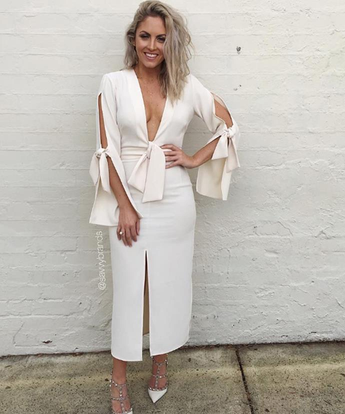 The beauty cut a stunning figure in this gorgeous white frock.