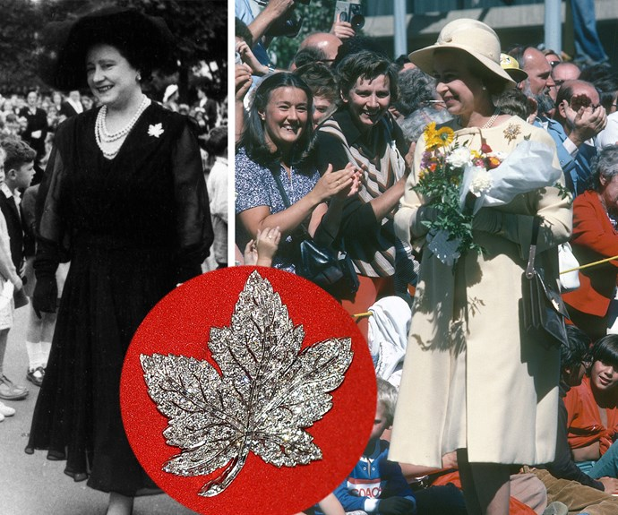 The sparkling piece of jewellery was a present to the Queen Mother from her husband, King George VI. He gifted his wife the brooch to mark their state visit to Canada in 1939 (pictured on the left). Passing it to her daughter, a-then Princess Elizabeth wore the brooch for the very first time in 1951 and again in 1978 (pictured on the right).