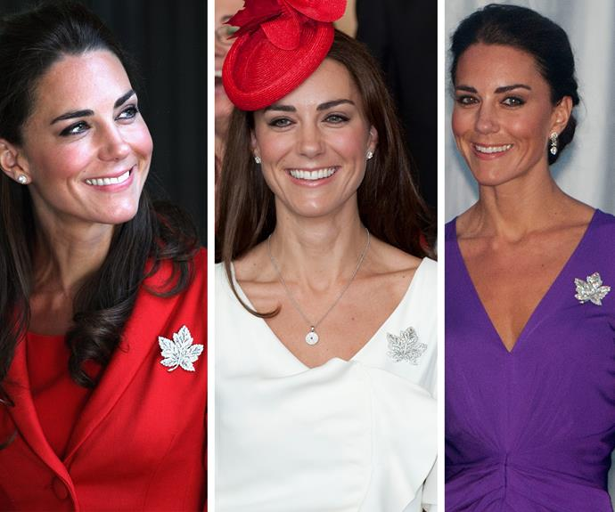 The brooch, which is a creation by jewellers Asprey & Co., plays homage to Canada's emblem the maple.  And just like the leaf's syrup, the Duchess thinks the bedazzled item is an exceptionally sweet accessory!