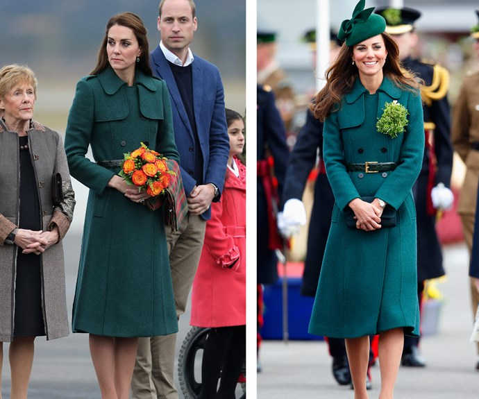 As mentioned, Duchess Catherine first donned this $472 coat to a St Patrick's Day Parade in Aldershot back in 2014, with a bunch of Irish Shamrocks pinned to her lapel (R). But in 2016 (L) she revamped the look in Canada with a fresh pair of cream heels and a maple leaf tartan scarf which she draped casually over arm, paying homage to her host nation.