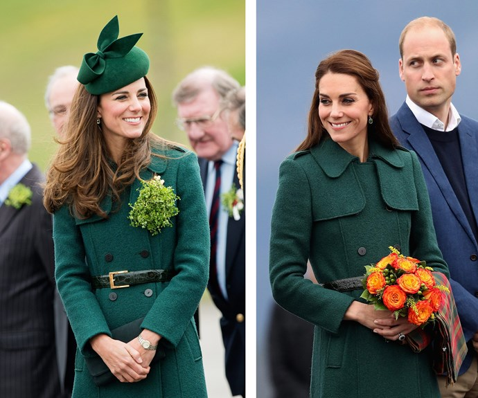 It was stylish then, and it's equally as stylish now! Kate knows a thing or two about classic looks, and this moss green trench by London label Hobbs is a timeless piece that evidently never goes out of style.