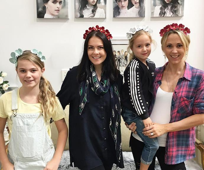 "Flower power! Bec and her girls recently enjoyed a rosy day out as the mum and her two girls tried on flower crowns at Viktoria Novak HQ in Sydney. ""A very special visit today! Beautiful @bechewitt23 and her adorable little ladies Mia & Ava  hope your enjoyed the @viktorianovak HQ tour. We loved having you xx,"" the designer captioned."