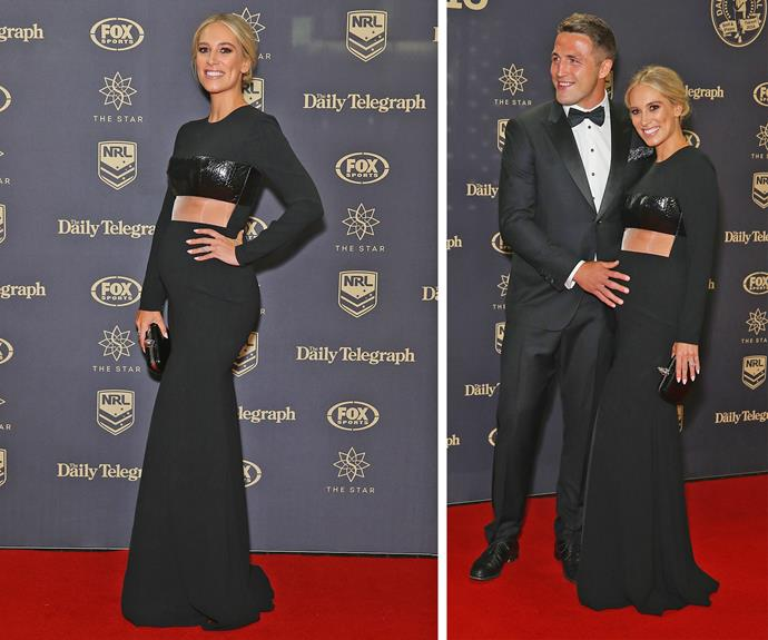 Sam and wife Phoebe Burgess worked coordinating black ensembles but it was the journalist's gorgeous baby bump that stole the show.