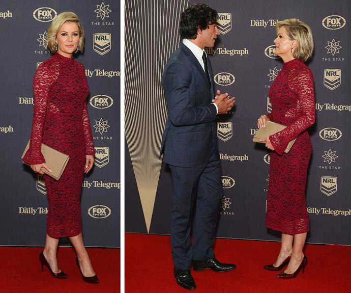 Sandra Sully was a vision as she chatted to footy legend Johnathan Thurston.