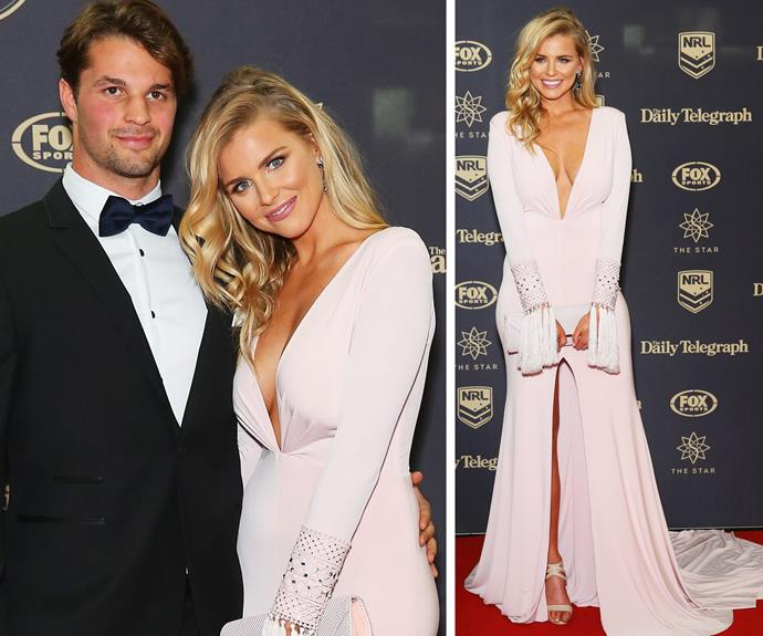 Making it red carpet official! Former Miss Universe Australia winner Tegan Martin flaunted her new footy player beau, Sam Croke.