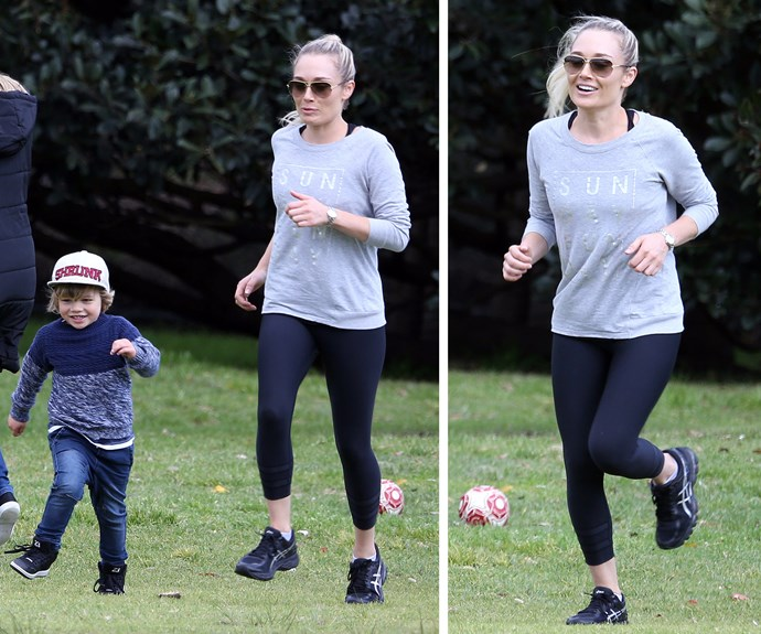 Mum showed off her athletic side, matching her three-year-old's energy.