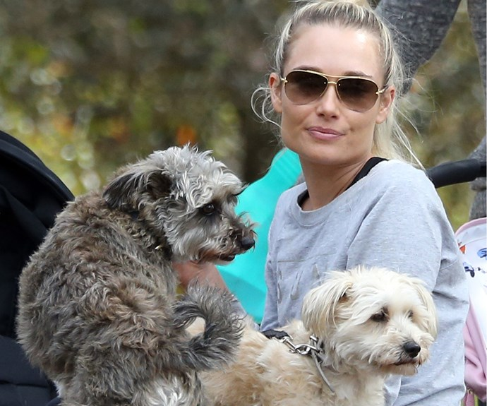 Lee hangs out with the Watson family pooches.