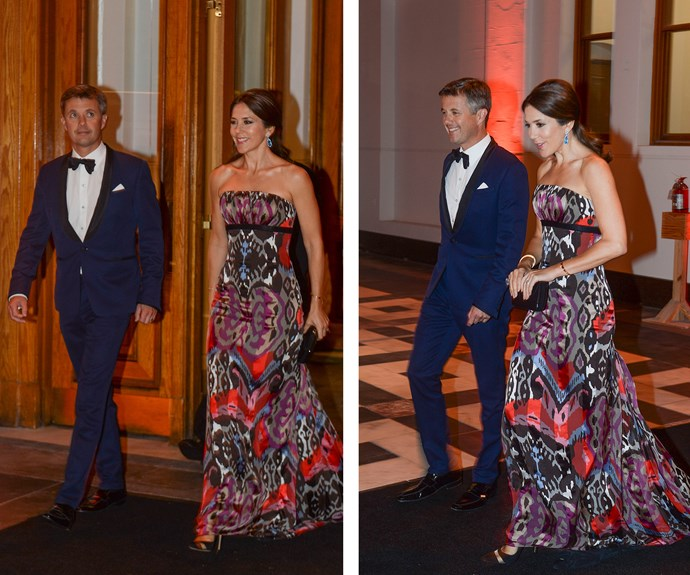 While Frederik was a dapper chap in a navy tux, Mary opted for a colourful, strapless gown that swished dramatically at her feet as their pair hit the dancefloor! **Watch the royal couple dance along to Stevie Wonder's *Isn't She Lovely* in the next slide!**