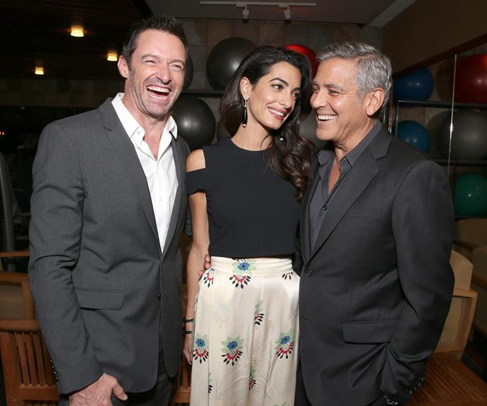 This week, Hugh Jackman, George Clooney and his wife of two years, Amal Clooney, shared a laugh at the MPTF 95th anniversary celebration in Los Angeles.