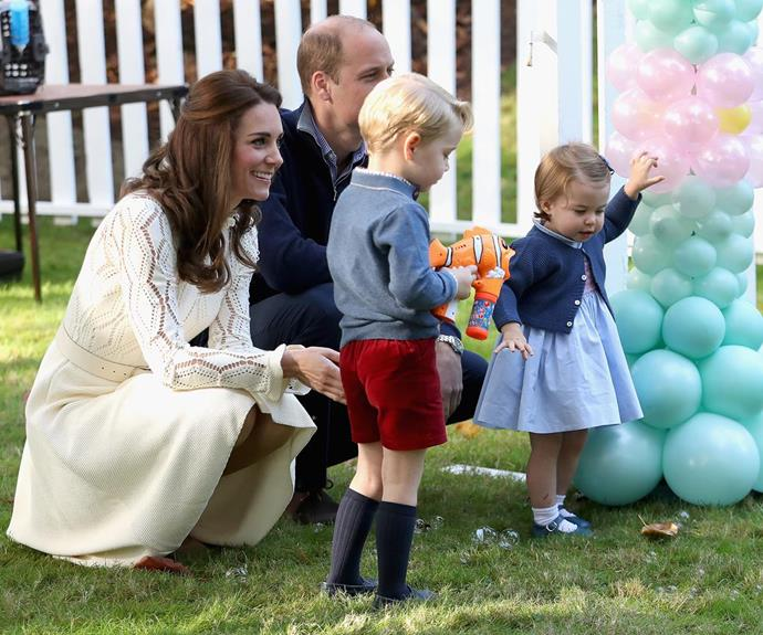 """Kate likes to join her kids in the garden for a workout that is both fun and fulfilling. She loves to run around after her little ones, """"sometimes with Charlotte in her buggy and their dog Lupo at her side."""""""