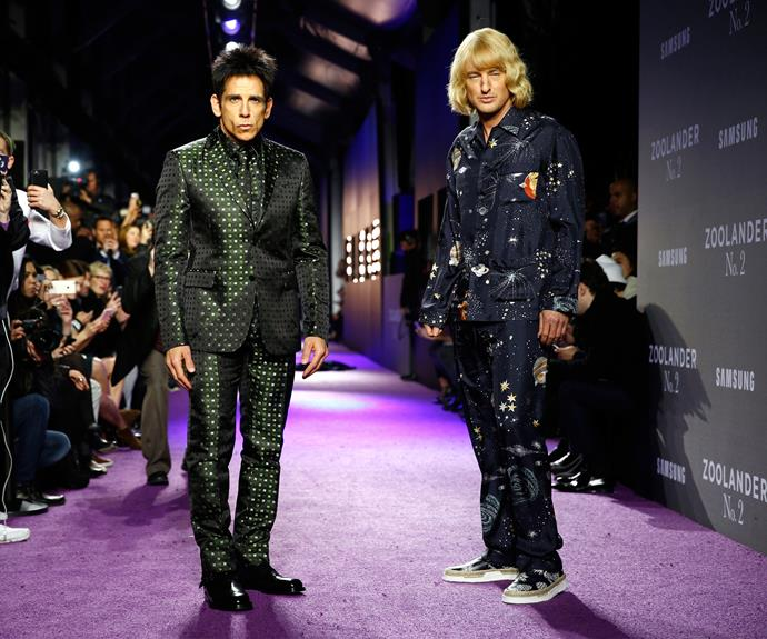 Ben in one of his more famous roles as Zoolander with co-star Owen Wilson.