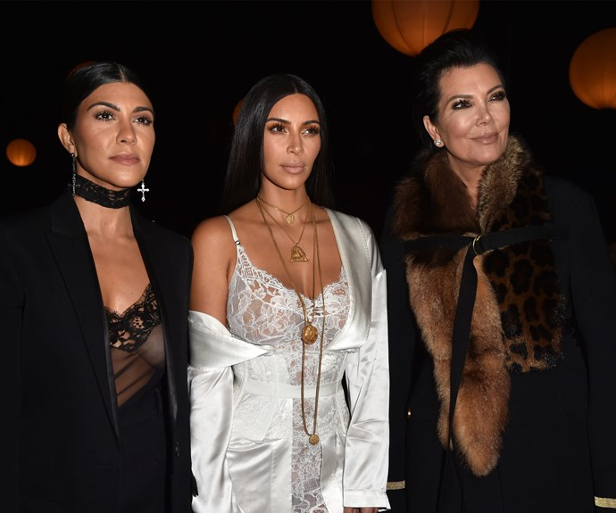 The men apparently followed a car containing Kourtney and Kim, pictured here with Kris Jenner.