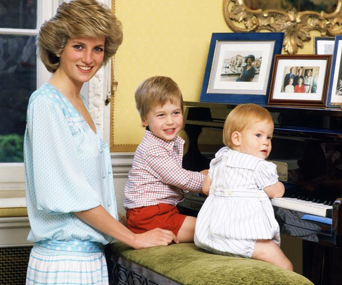 A young William and Harry pictured with their late mother in 1985.