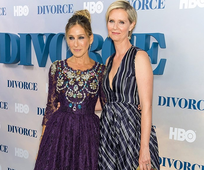Former *Sex and the City* co-stars Sarah Jessica Parker and Cynthia Nixon had a red-carpet love-in at the premiere for SJP's TV series, *Divorce*.