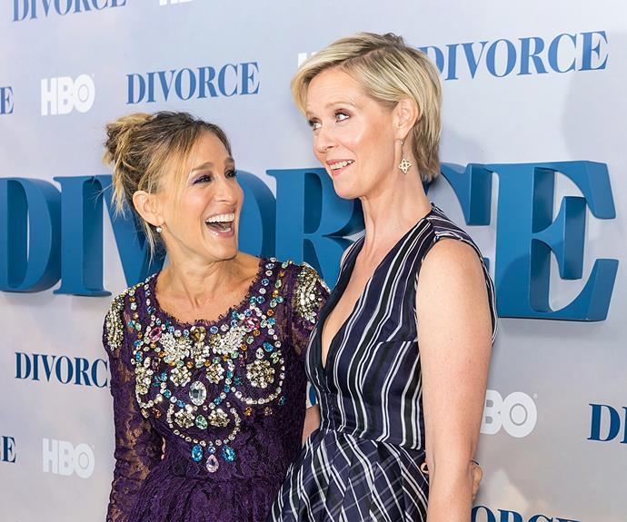 Sarah and Cynthia looked to share a laugh on the red carpet. Carrie would be proud!
