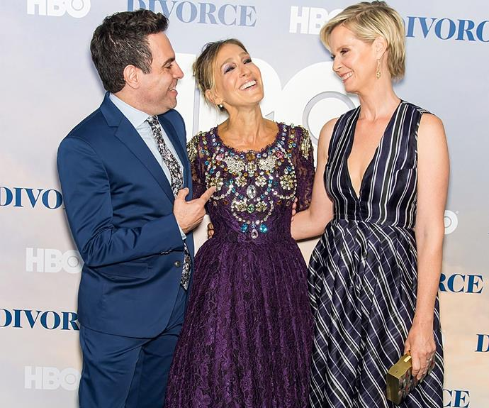 Also joining them was another SATC alumni - Mario Cantone, who played Anthony. Mario and Cynthia were there to support SJP, and our hearts melted a little to see the former cast members together. Is anyone else getting flashbacks to the early 2000s?!
