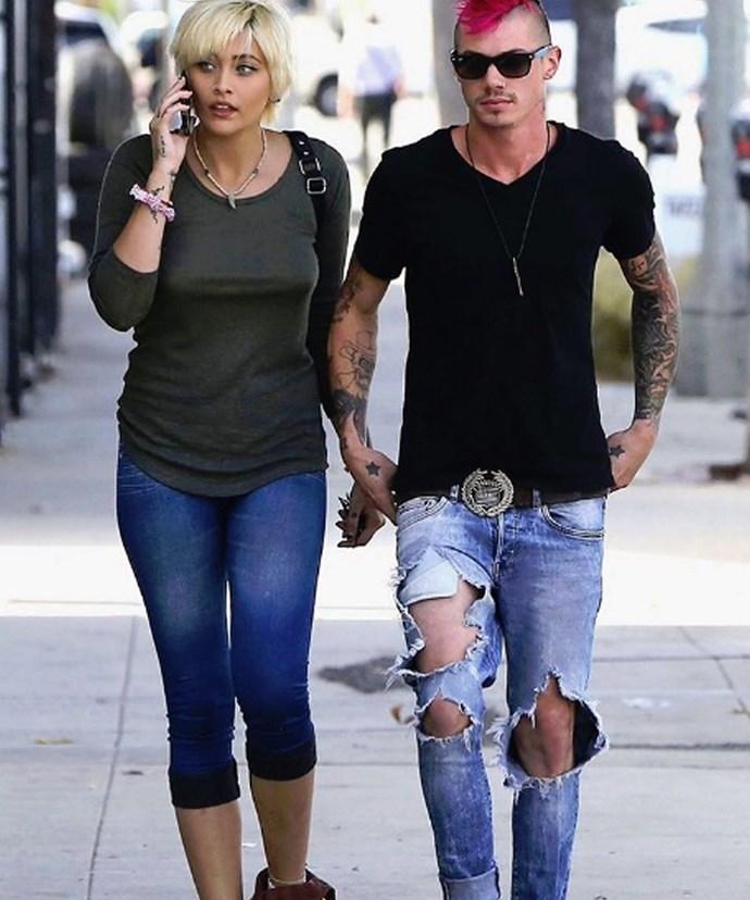 Paris pictured with her drummer boyfriend Michael Snoddy.
